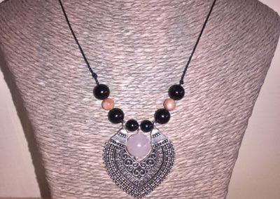 collier marocain perles en tourmaline noire et quartz rose