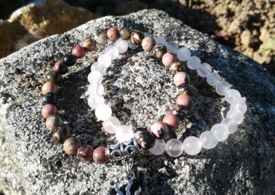 bracelet soleil quartz rose rodonite