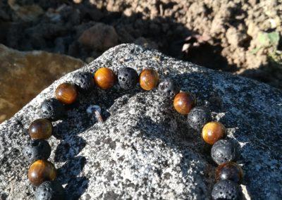 bracelet pierre de lave et œil de tigre