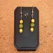 boucles d oreilles bois jaune vert- bobjv - Copie
