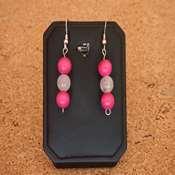 boucles d oreilles bois pierre rose- bobpr - Copie
