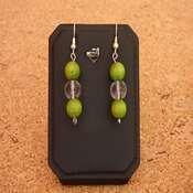 boucles d oreilles bois pierre vert- bobpv - Copie