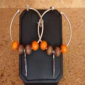 boucles d oreilles creoles bois orange marron- bocom - Copie