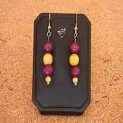 boucles d'oreilles bois violet jaune- bobvj - Copie