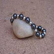 bracelet pierre hematite perles metales- bphpm