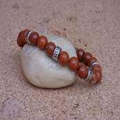 bracelet pierre jaspe rouge avec intercalaire metal- bpjr