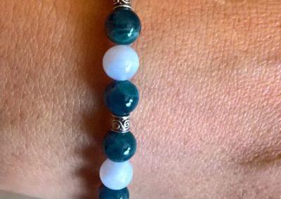 Bracelet en Apatite Bleue et Calcédoine Bleue