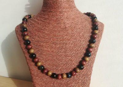 Collier en Oeil de Faucon, perles bois marron et olive